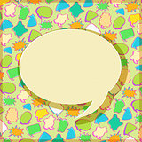 Black Speech Sign on Bubble Chat Pattern