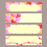 Banner Set with Red Pink Hearts