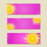 Pink Horizontal Banner or Card Set with Yellow Sun