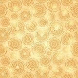 Gold Shiny Seamless Pattern with Round Elements