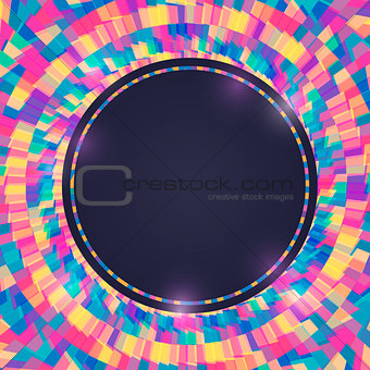 Bright Colorful Invitation Card with Round Label.