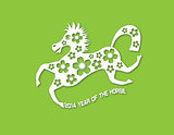 2014 Abstract Chinese Horse with Flower Paper Cut on Green