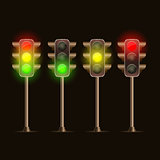 Shiny Traffic Light Icon Set