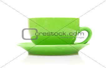 an empty green cup isolated on white