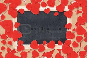 blank chalkboard over Valentine hearts background