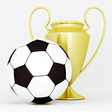 gold cup and soccer ball on a white background