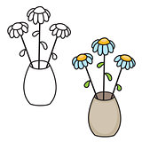 Vector illustration of flowers in a vase