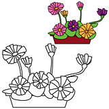 Vector illustration of floers in a pot