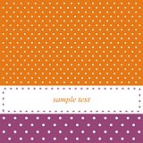 Vector orange and violet card or invitation with white polka dots.