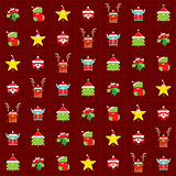 Christmas happy background pattern wrapping paper with cartoon c