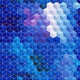Blue cubic mosaic background.