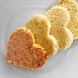 heart-shaped sponge cake