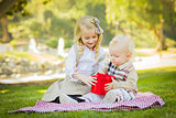 Little Girl Gives Her Baby Brother A Gift at Park