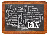 tax  word cloud on blackboard