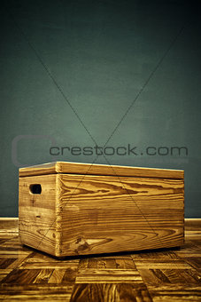 Closed Wooden crate box on the floor