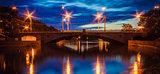 A Night Bridge Over The River In Minsk Belarus