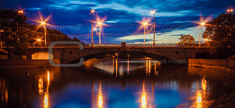 A Night Bridge Over The River In Minsk Belarus