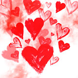 Watercolor background with hearts