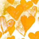 Seamless watercolor background with hearts