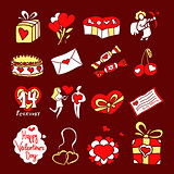 valentine icons color