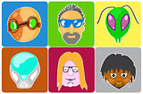 vector set from 6 icons of avatars