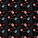 Vector Hipster Doodles Colorful Seamless Pattern, Background