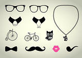 Hipster Accessory Vector Set, Bicycle, Collar, Chain