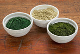 kelp, spirulina and chlorella