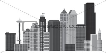 Seattle City Skyline Grayscale Illustration