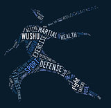 Wushu word cloud with blue wordings