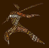 Wushu word cloud with brown wordings