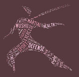 Wushu word cloud with pink wordings