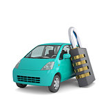 Turquoise small car and combination lock