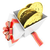 Gold coins in a gift box