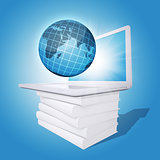 Laptop and globe on white stack of books