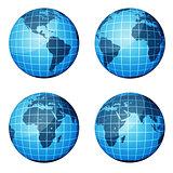 Globe. Dark blue continents and blue ocean