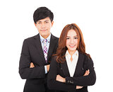 young smiling businessman and businesswoman