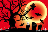 Illustration for Halloween with spooky design elements