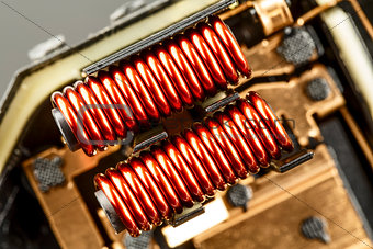An electrical coil with iron core