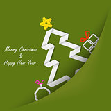 Christmas card with folded paper tree in your pocket