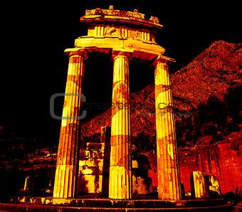 Athena Pronoia Temple at Delphi in Greece