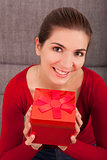Woman with a christmas present