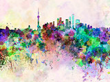 Shanghai skyline in watercolor background