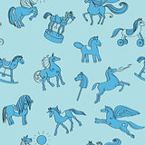 toy horses doodles pattern