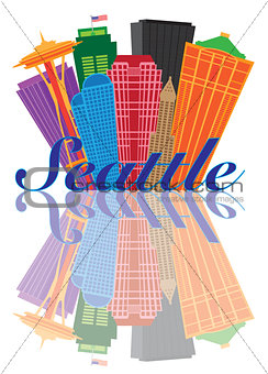 Seattle Abstract Skyline Reflection Illustration