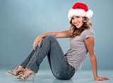 christmas blond woman
