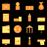 Business icons on black background