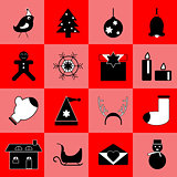 Christmas black icons on red background