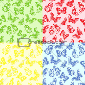 Four seamless butterflies pattern