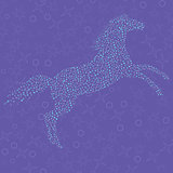 Mosaic in the shape of a horse on the seamless pattern backgroun